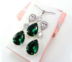 Bridal Jewelry Set Swarovski Crystal Emerald Sterling Silver Post Weddings Jewelry Gift Necklace And Earrings Set