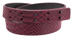 Nanette Lepore Nanette Lepore Purple Snakeskin Embossed Leather & Suede Belt, Size S (3675)