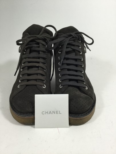 Chanel Ch.j0701.10 Gray Perforated Suede Dark Chocolate Boots