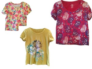 3d T Shirt Yellow Red Purple Hot Pink Floral Multi Trio