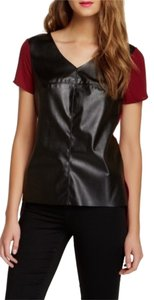 Soprano Leather Mixed Media Top Red and Black