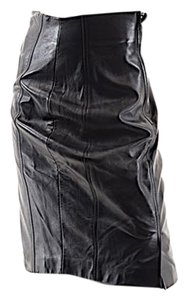Escada Vintage Leather Skirt Black Leather