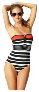 Michael Kors Striped Zip-Front One-Piece Swimsuit