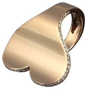 Roger Dubuis Roger Dubuis 18k Rose Gold Diamond Curved Modern Heart Ring