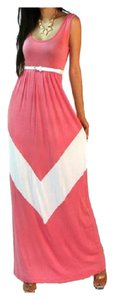 Pink & White Maxi Dress by Other Cocktail Holiday Boho Long Hippie