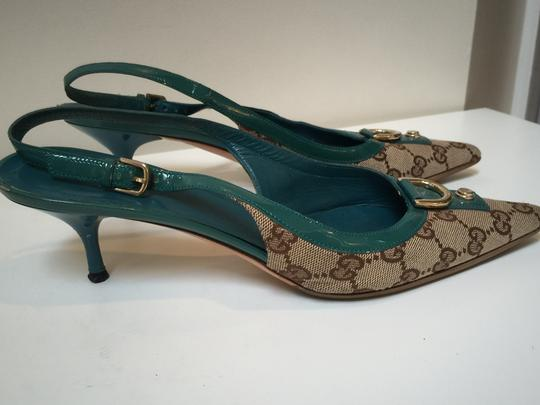 Gucci Slingback GG beige with turquoise patent leather trim Pumps