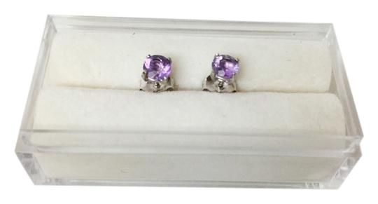 Other Purple Amethyst 14k White Gold Stud Earrings. 4 mm round
