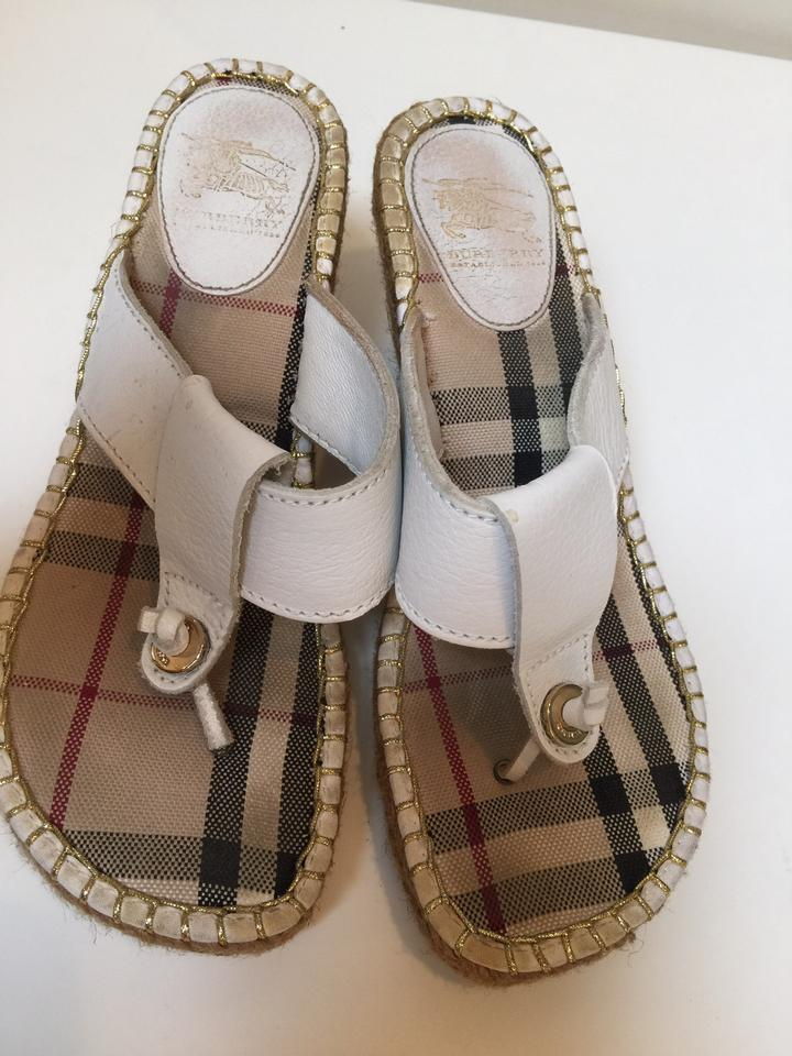 9ce15c16b3d1 Burberry White Leather Thong Espadrille Sandal Wedges Size US 7 ...