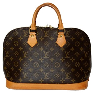 Louis Vuitton Monogram Canvas Leather Alma Totes Satchel in Brown
