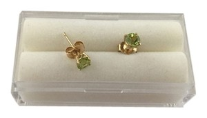 Peridot 14k Yellow Gold Stud Earrings,August Birthstone, 4 mm Round