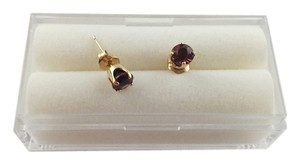 Red Garnet 14k Yellow Gold Stud Earrings, 4mm Round