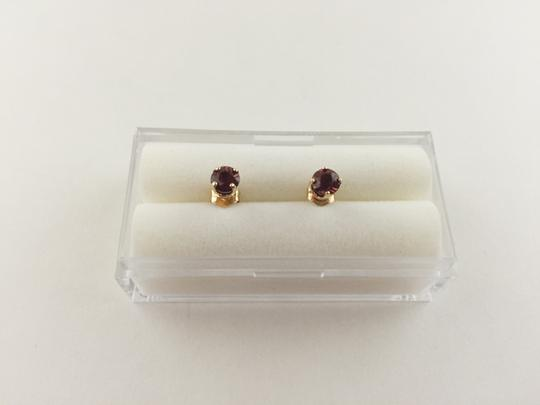 Other Red Garnet 14k Yellow Gold Stud Earrings, 4mm Round