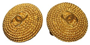 Chanel Chanel Rope Chain Gold Earrings Big CC Logo Clip On
