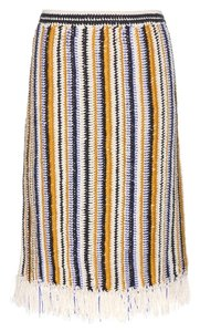 Tory Burch Designer Crochet Knit Runway Fashion Luxury New York Pencil Skirt Multi-colored