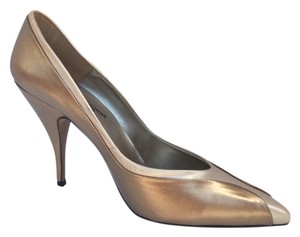 Spanish Leather Collection Bronze Pointed Toe Bronze/Gold Pumps