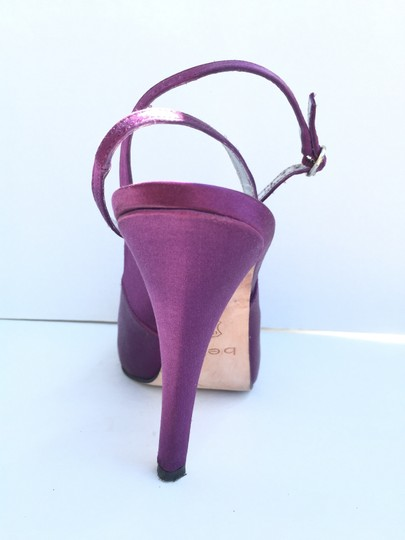 bebe Satin Slingback Open Toe Purple Pumps