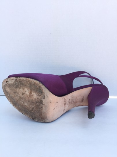bebe Satin Slingback Open Toe Purple Pumps Image 2