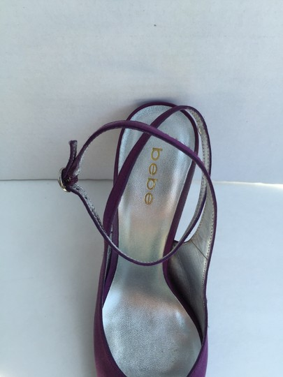 bebe Satin Slingback Open Toe Purple Pumps Image 3
