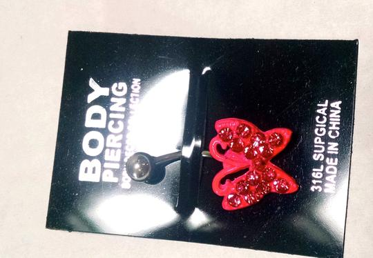 Other New Body Piercing Butterfly Naval Ring Pink Silver J1271