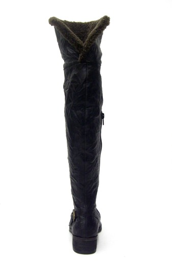 Sam Edelman Over The Knee Leather Shearling Fur Trim Cuff Stacked Leather Heel Equestrian Strap black Boots