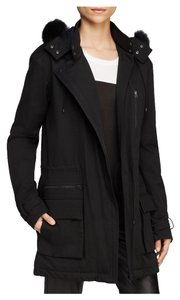 Vince Fur Quilted Parka Hooded Pea Coat