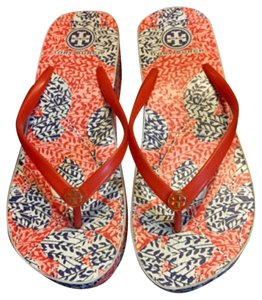 Tory Burch Wedge Rubber Floral Coral Habanero Pepper Sandals