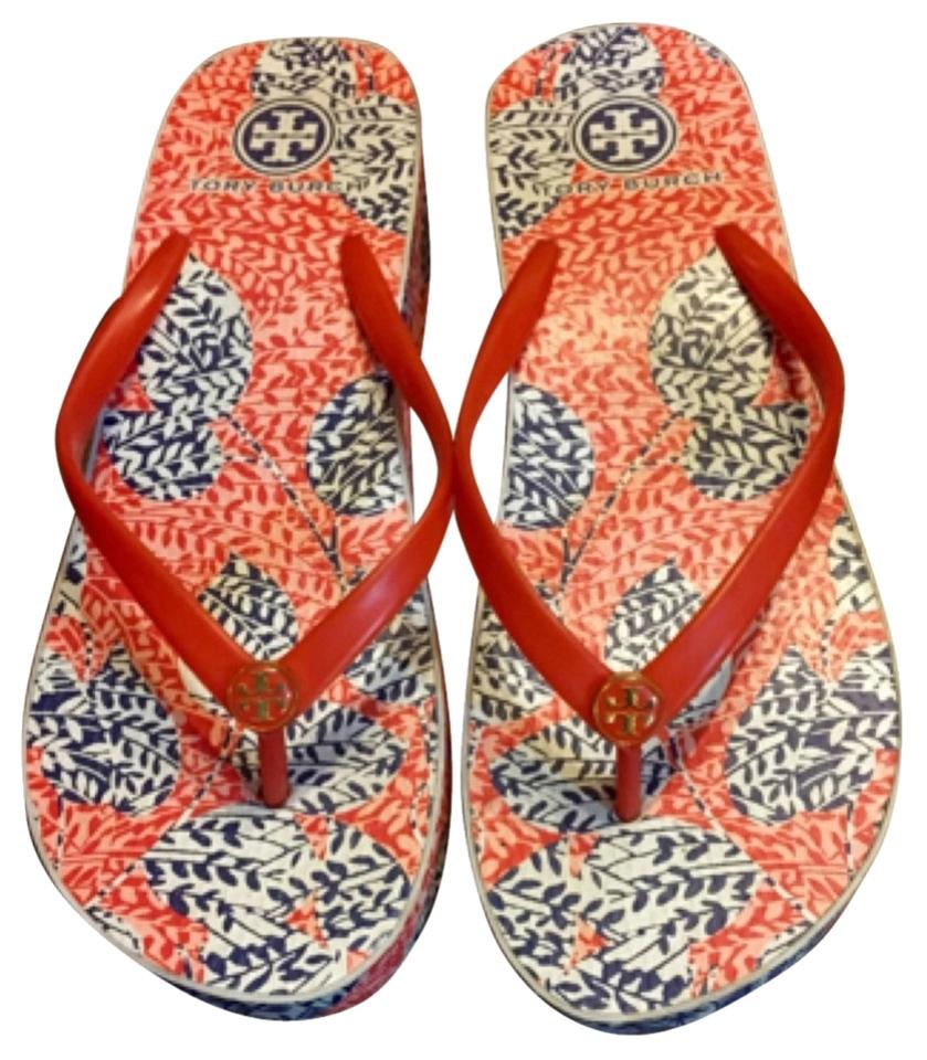 26a64273b Tory Burch Wedge Rubber Floral Coral Open Toe Flip Flops Summer Casual Bold  Print Premium Detail ...