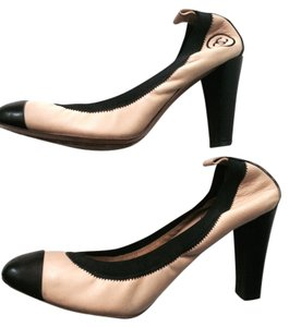 Chanel & Classic High Heel Spirit Beige Tan with Black Pumps