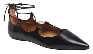 Topshop Lace Up Black Leather Flats