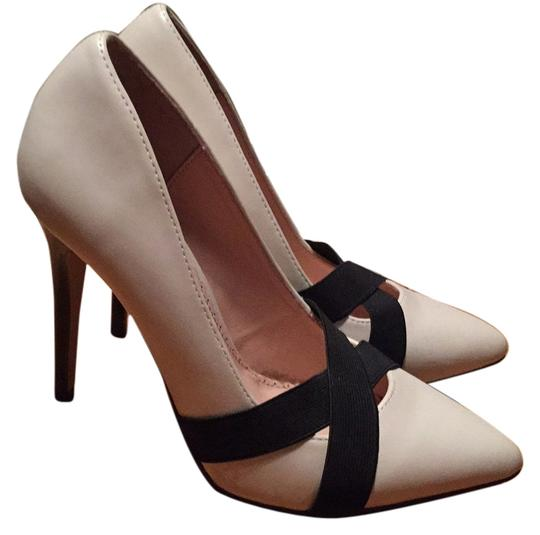 ShoeDazzle White / Ivory with Black Strap Pumps