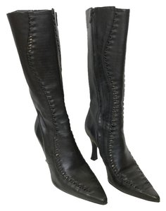 Luichiny Leather Woven Knee High Black Boots