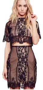 For Love & Lemons Mini Skirt Black and nude