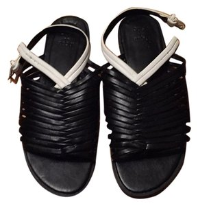 ShoeDazzle Black with white strip. Sandals