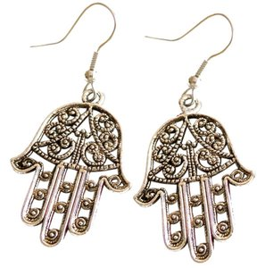 Sterling Silver hamsa Filigree Dangle Earrings