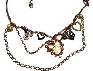 Betsey Johnson Betsey Johnson Charm Necklace Gunmetal Gold Tone Crown Heart J1273