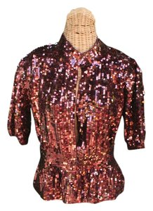 Boston Proper Sequins Cardigan Top Bordeaux