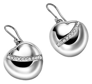 Breil Braille Silver Tone Heart Shaped Crystal Drop Earrings