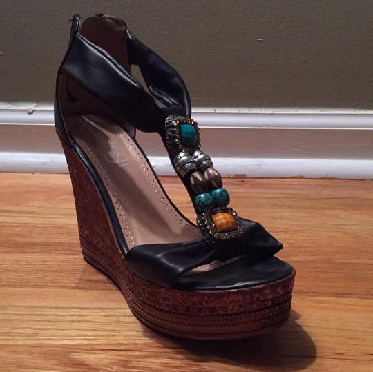 Refresh Black with rhinestones and colored beads Wedges