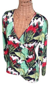 Boston Proper Faux Wrap Top Multi FLoral