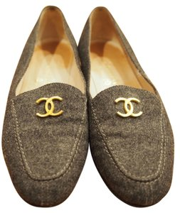 Chanel Gold Cc Double C Logo Flannel Black Flats