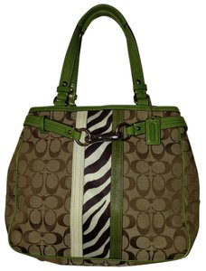 Coach Tote in brown and green