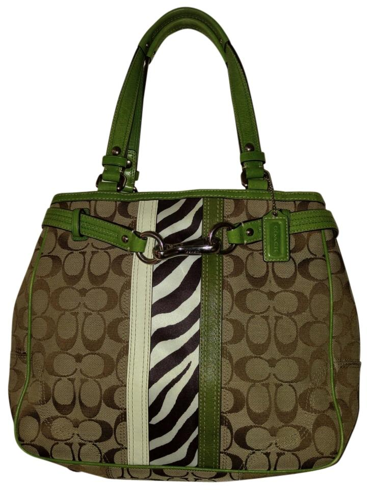 Coach zebra stripe signature cees f13993 brown and green canvas coach purse purse zebra stripe signature series monogram leather tote in brown and green altavistaventures Image collections
