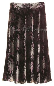 Boston Proper New Without Tags Velvet Long Bias Cut Full Floral Pink Gold Black Maxi Skirt Pink Black