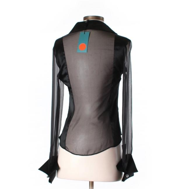 Karen Millen Nwt Sheer Sexy Silky Button Down Collared Sleeved Cuffs New With Tags Size 6 S M Blouse Top Black