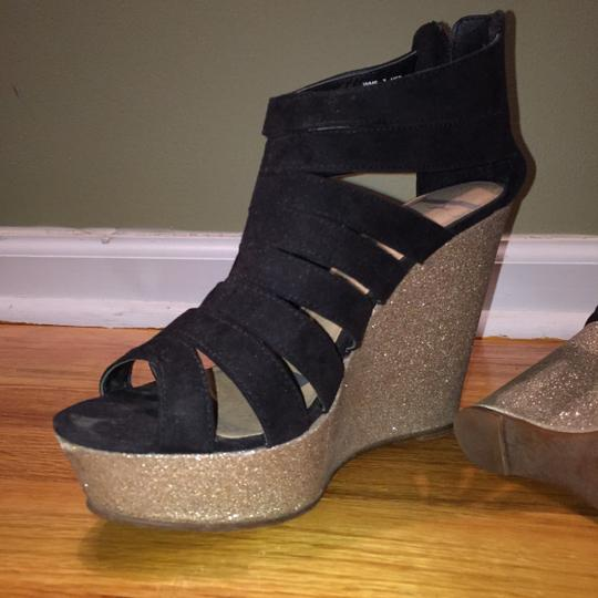 Elle Black with gold wedge Wedges