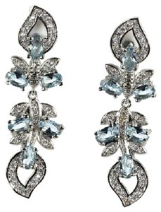 Stunning Blue Topaz & CZ Long Dangle 925 Sterling Silver 14k Earrings