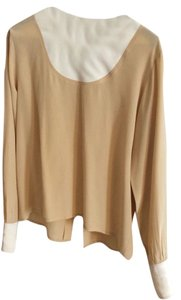 Chanel Cuff 100% Silk Size 38 Top Beige