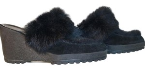 Coach Mules Rabbit Fur Blacks Wedges