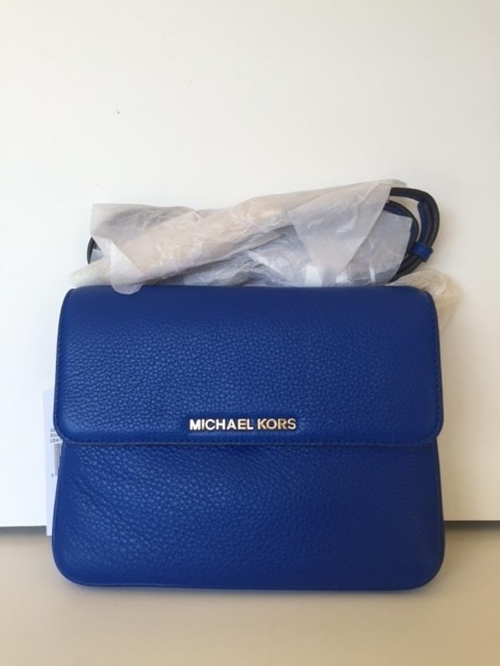 e3214ee0c4e4 Michael Kors Bedford Double Gusset Electric Blue Leather Cross Body ...