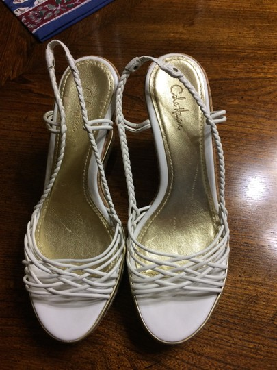 Cole Haan White and Gold Wedges